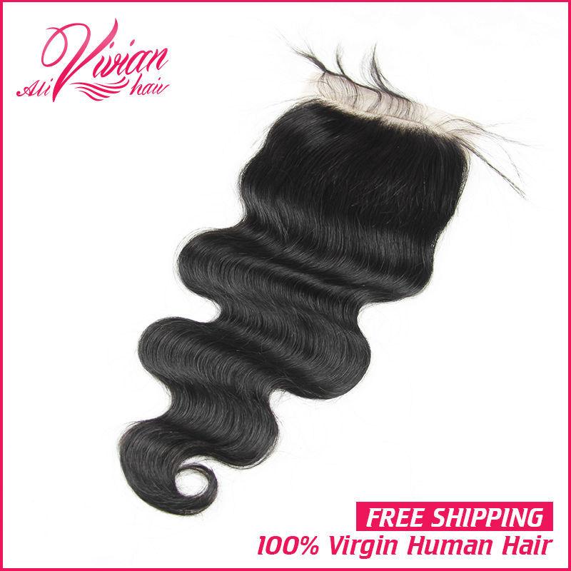 6A Peruvian Body Wave Lace Closure Middle 3 way Part Human Hair Closure Peruvian Virgin Hair Bleached Knots Top Closure(China (Mainland))