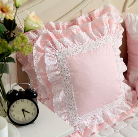 buy luxury white pink lace edge ruffle square cushion case 45x45xm 50x50cm. Black Bedroom Furniture Sets. Home Design Ideas