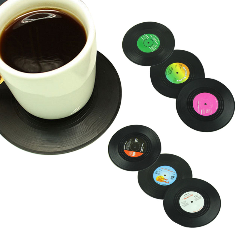 Good Quality 6Pieces/Set Spinning Retro Vinyl CD Record Drinks Coasters / Vinyl Coaster Cup Mat best deal(China (Mainland))