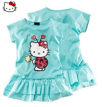 free delivery,girls summer clothing,designer model+charming colors+cute hello kitty+good quality,childrens fashion dress