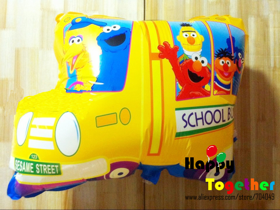 HAPPY TOGETHER Crafts Factory Party Accessories Free Shipping Wholesale 50pcs/lot Sesame Street School Bus Helium Foil Balloons(China (Mainland))
