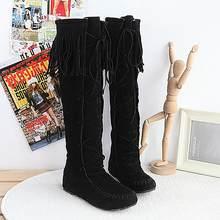 EGONERY kış diz yüksek çizmeler bayanlar purl çapraz bağlı yuvarlak ayak bayanlar ayakkabı kış 4 renk siyah pembe kahverengi moda çizmeler kadın(China)