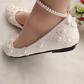 White flat bridesmaid shoes the bride wedding shoes handmade pearl bangle beaded soft sole shoes