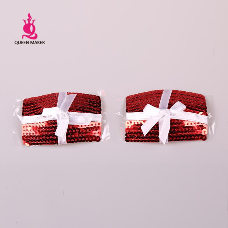 QueenMaker 2014 Christmas lingerie chest paste fitting a set of sexy red sequined white ribbon stickers Breasts nipple covers(China (Mainland))