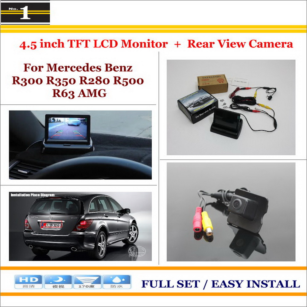 "For MB Mercedes Benz R300 R350 R280 R500 R63 AMG - Car Rear Camera + 4.3 inch"" TFT LCD Screen Monitor = 2 1 Back Parking System"""
