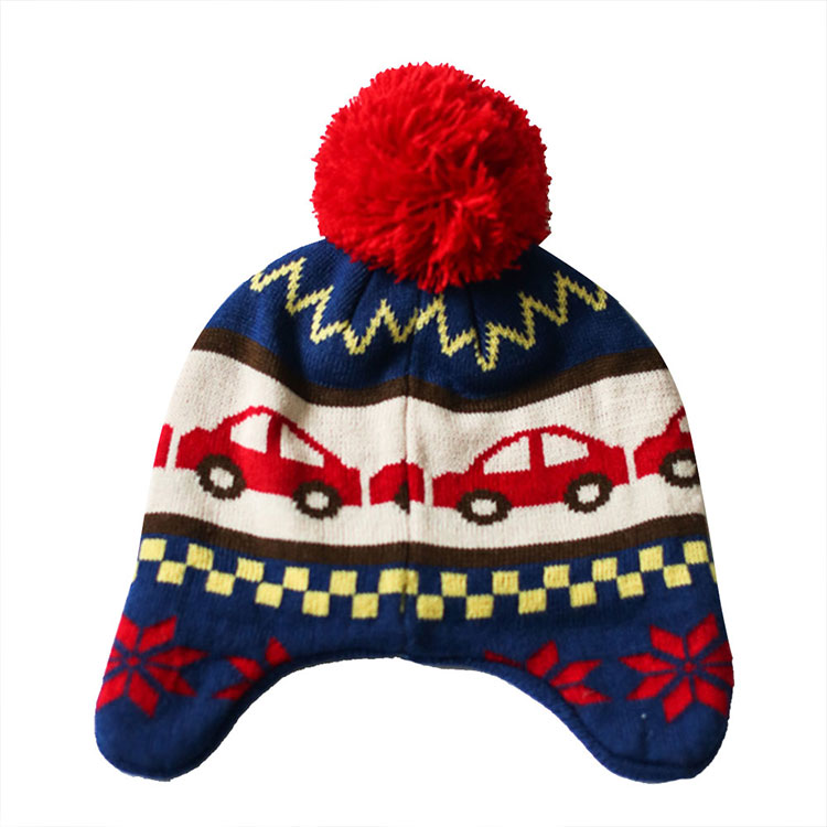 TOU-Fashion Children Warm Hats Autumn Winter Ear Protection Caps Car Design Baby Boys Double Knitted Caps 1pcs free shipping(China (Mainland))