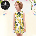 WLmonsoon Children Dresses New Arrival 2016 Kids Summer Clothing Vestido meninas Girls Lemon Print Cotton Princess