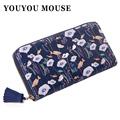 YOUYOU MOUSE Women Flowers Wallet Sweet Fresh 4 Color Purse Women s Tassels Zipper Money Bag