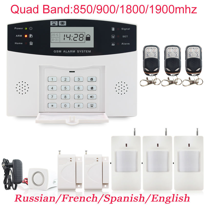 English/Russian/French/Spanish Voice Prompt Wireless GSM Keypad Home Alarm Security System +3pcs PIR Detector +2pcs Door sensor<br><br>Aliexpress