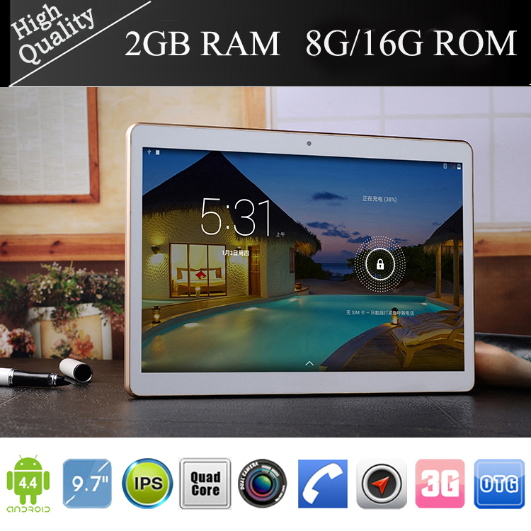 9.7 inch Tablet pc Quad Core MTK6582 andriod 4.4 3G phone call Dual Sim Cameras 2+5MP flash 2GB/16GB IPS 1280*800 bluetooth GPS pad - Shenzhen Doudou Maker E-Business Co.,Ltd store