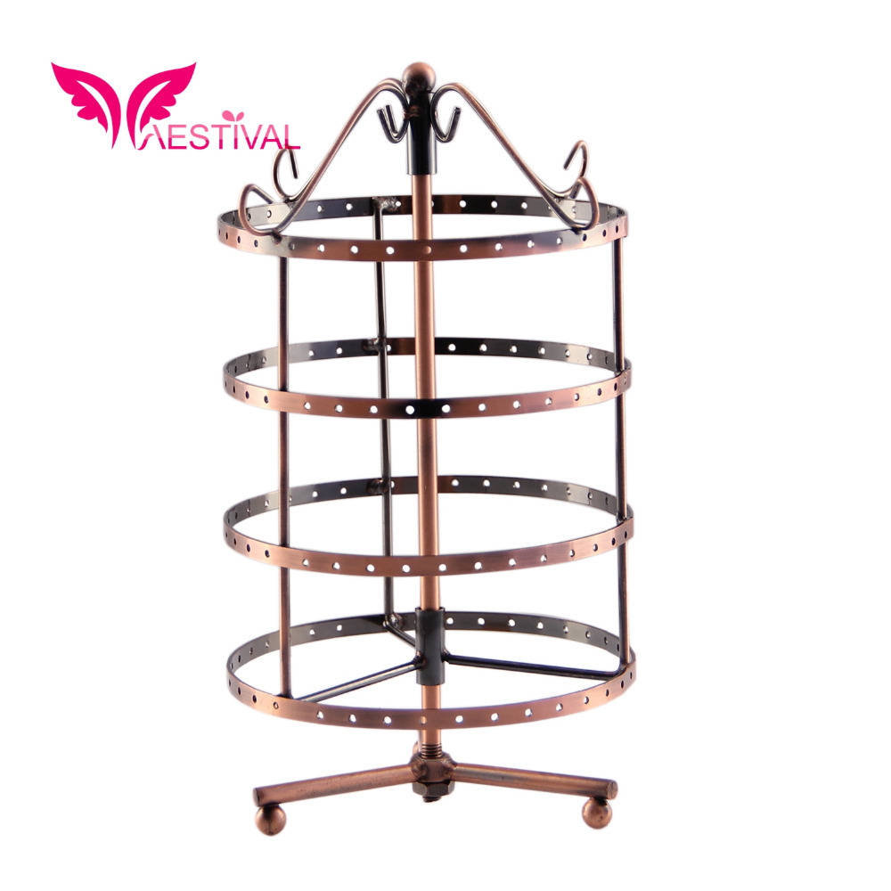 2015 New Arrival,Bronze Tone Metal Rotating Jewelry Stand Earring Holder Organizer(Round) Free Shipping(China (Mainland))