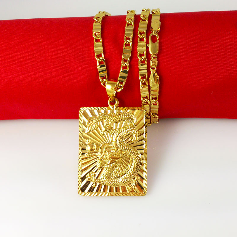 New arrival fashion style jewelry 24K yellow gold plated long necklace dragon pendant necklace pendant fashion
