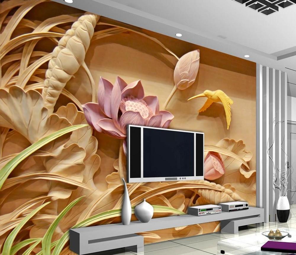 Wholesale Wood Carving Lotus Mural Tv Backdrop 3d Wallpaper Flower  # Meuble Mural Tv C Discount