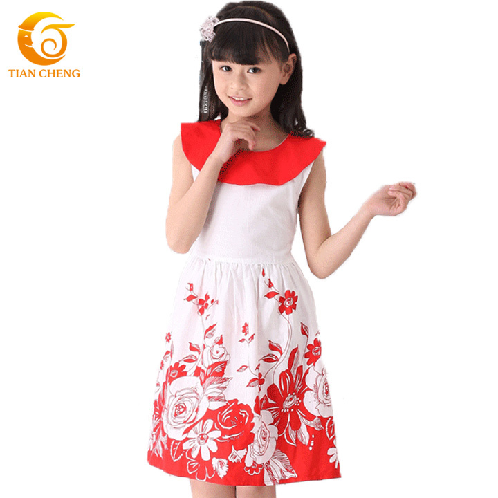 New Arrival Big Flower Teenage Girls Fashion Dresses Quality Chiffon Kids Clothes Vestidos Infantis Ropa De Ninas(China (Mainland))