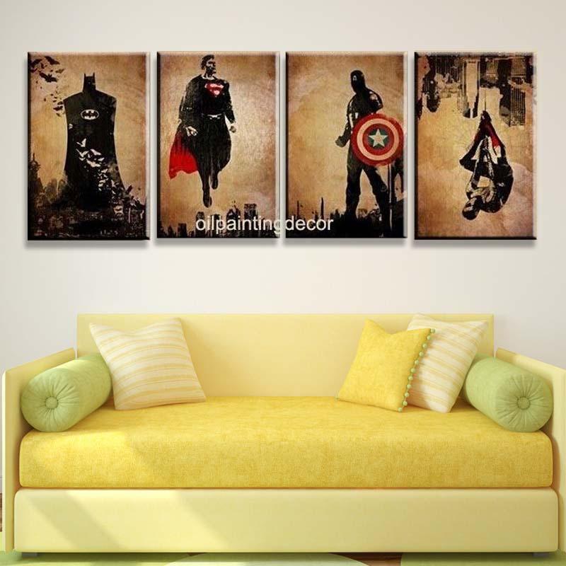 Comic Book Hero Batman,Superman,Captain America,Spider Man Handmade Modern Abstract Oil Painting 4pc Canvas Art Wall Picture - Global village art store