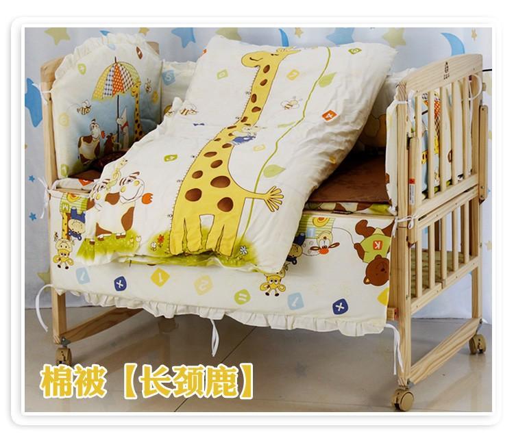Фотография Promotion! 10PCS Bear Cot Crib Beddings,Wholesale and Retail Children Cot Sets,(bumper+matress+pillow+duvet)