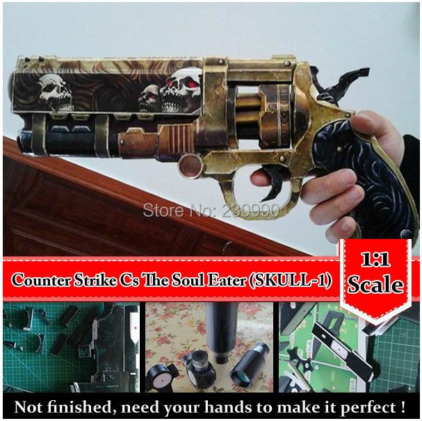 Counter Strike CS Soul Eater Heavy Revolvers 1:1 Scale 3D Paper Model Cosplay Kits Kid Adults' Gun Weapons Paper Models Toys(China (Mainland))