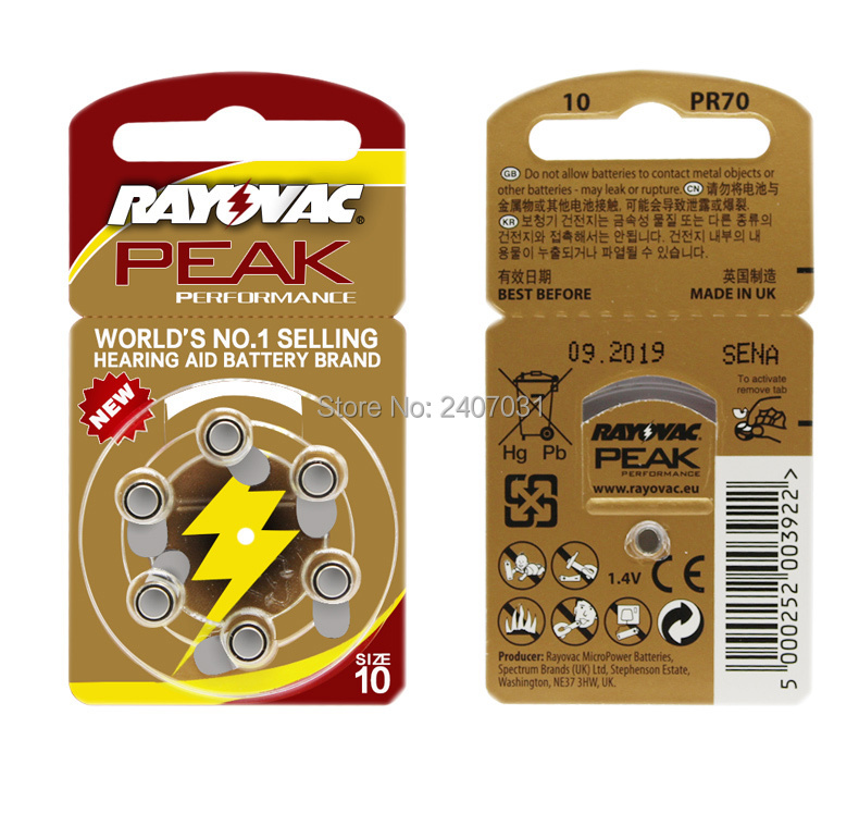 60 PCS Rayovac PEAK High Performance Hearing Aid Batteries. Zinc Air 10/A10/PR70 Battery for BTE/RIC Hearing aids. Free Shipping