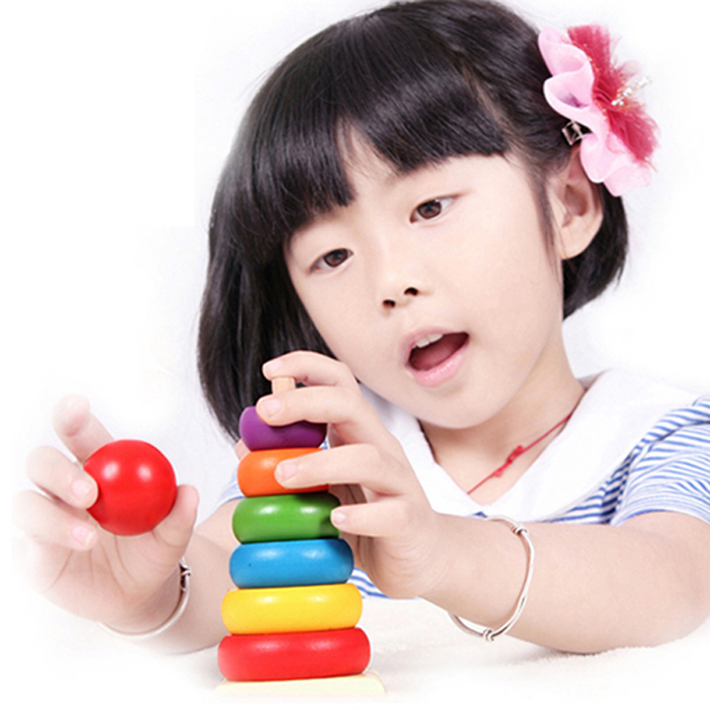 Гаджет  Kids Baby Toy Wooden Stacking Ring Tower Educational Toys Rainbow Stack Up  None Игрушки и Хобби