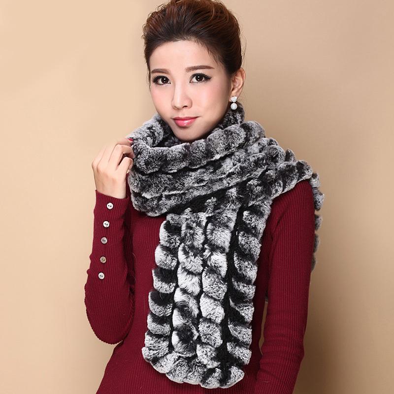 2015 Autumn Lady Genuine Rabbit Fur Scarves Unisex Winter Fashion Real Neckwarmers Womens Soft Long Wraps