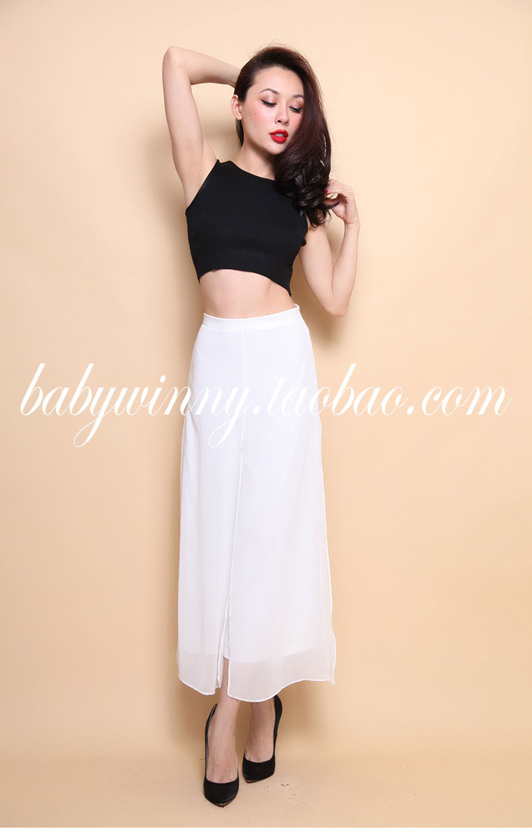 FREE SHIPPING 2016 Summer New Arrival Fashion All Match Knitted Black Short Tank And Ankle Length Wide Leg Pants Sets Women Suit
