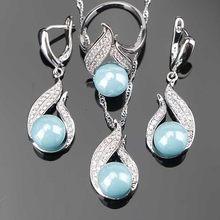Natürliche Perle Silber 925 Braut Schmuck Sets Frauen Schmuck Mit Zirkon Perlen Set Ohrringe Anhänger Halsketten Ring Geschenk Box(Hong Kong,China)