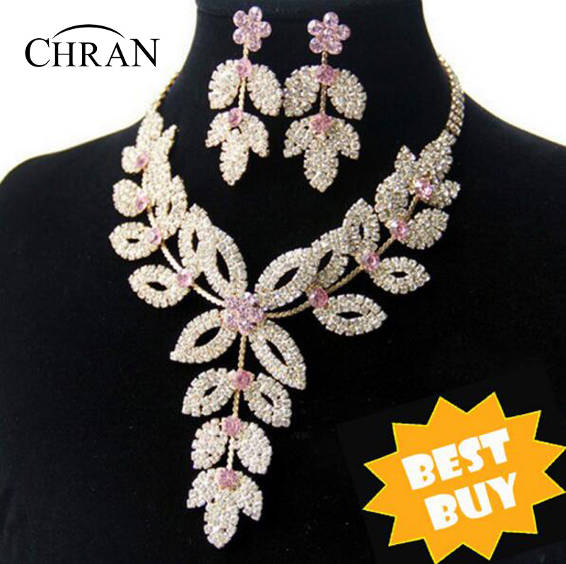 18K Gold Plated Flower Wedding Bridal Austrian Crystal Rhinestone Vintage Necklace Earrings Jewelry Sets DDJSR1591 - Dragon Decoration Co.,Ltd. store