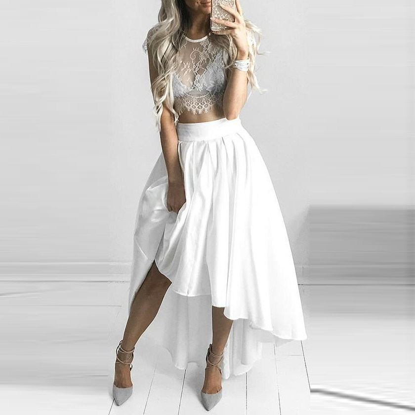 thin white high low skirt wide waistline floor length