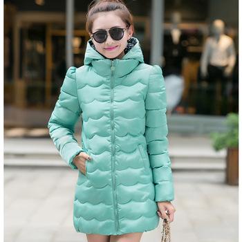 Зима пальто хлопок длинная капюшон, колледж ветер женщины тонкий пуховик средний - приталенный пиджаки k609