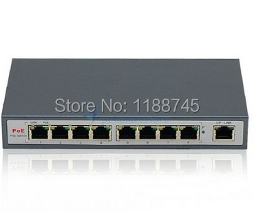 Free Shipping 9-PORT 10/100M Switch PoE 802.3af for Surveillance IP POE Camera(China (Mainland))