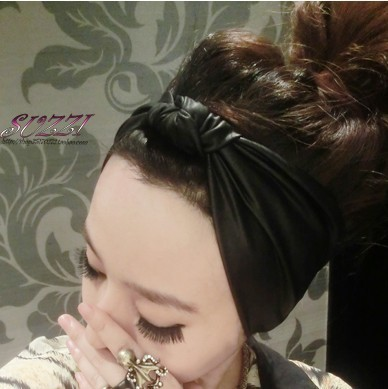 Fashion Punk Vintage Black Faux Leather Elastic Headband  Hair Accessory Female Spring And Summer Bow Bandanas Black Hairbands