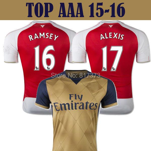2016 away gold ALEXIS OZIL RAMSEY soccer jersey 15/16 WILSHERE GIROUD WELBECK camiseta de futbol 15 16 golden maillot de foot(China (Mainland))