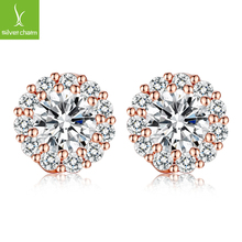 High Quality Romantic Design AAA CZ Crystal Platinum Plated Stud Earring for Wedding Luxury Jewelry Gift(China (Mainland))