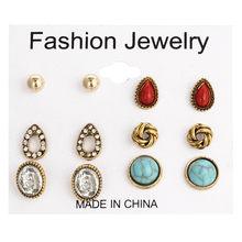 24 pcs/set Heart Flowers Vintage Gold Stud Earrings Set 2019 New Crystal imitation Pearl Earrings for Women Gift on Ear Jewelry(China)