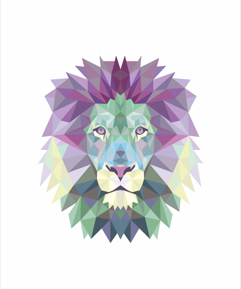 N3 Modern African lion pattern painting, creative color animal paintings, decorative painting frameless canvas, home decorative