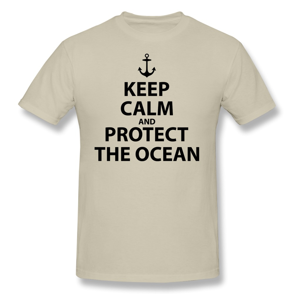 Short Sleeve Cotton Keep Calm and Protect the Ocean Slim Fit t shirts For Men 2015 Fashion man 3D t shirt on Sale(China (Mainland))