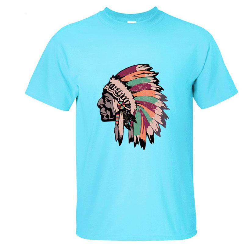 Europe Size Hot Casual Indian Head T Shirts Men Cotton t shirt man Sports Tops Short Sleeve Mens Tees 12 colors MXC0262(China (Mainland))