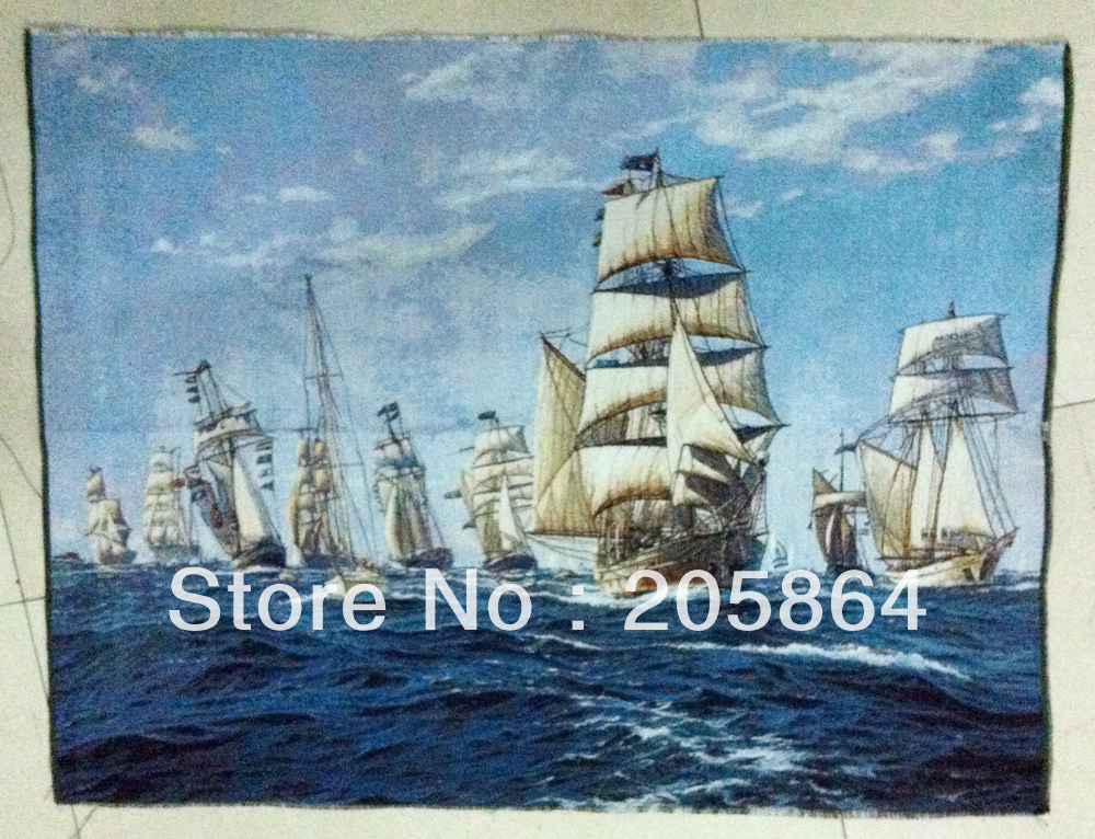 Free shipping middle size wall gobelin tapestries,nautical style picture,oil painting style multifunctional fabric piture(China (Mainland))