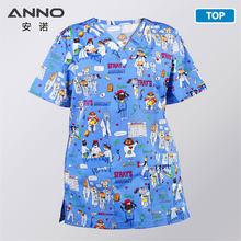 Anno 5XL Plus Ukuran Pakaian Medis Perawat dengan Kartun Anjing Scrub Set Medical Kostum T Shirt Celana Klinis Seragam(China)