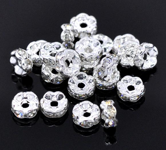Jewelry Making 30Pcs Rhinestone Rondelles Spacer Beads 5mm Dia. Free Shipping(China (Mainland))