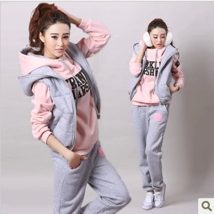 East Knitting 2013 autumn winter sweatshirt piece set thickening women's casual vest hood sports female - EAST KNITTING store