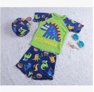 New high quality authentic dinosaur sunscreen swimsuit child swimsuit split swimwear boys(China (Mainland))