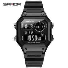 Sanda marca relógios de esportes masculinos moda cronos contagem regressiva à prova dwaterproof água led relógio digital homem militar relógio relogio masculino(China)