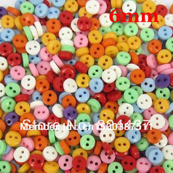 Free shipping 600 Pcs Random Mixed 2 Holes Resin Sewing Buttons Scrapbooking 6mm Knopf Bouton(W01361 X 1)