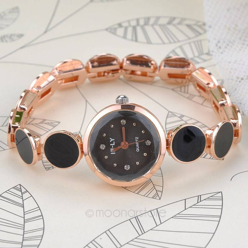 Dot Connection Chain Rose gold Imitation ceramic alloy band Rhinestone Wheel Printed Steel watch YL*MHM612#S9(China (Mainland))