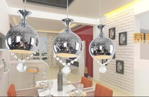 REE SHIPPING 3PCS FContracted and contemporary pendant crystal ball chain hoist single dining-room lamp head  ZZP30