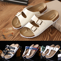 46 big plus size Cross women s cork sandals 2017 genuine leather new solid color female