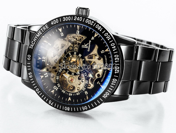5 Colors Luxury Modern IK Colouring Brand Skeleton Dial Automatic Mechanical Military Steel Wrist Watches Sport Mens +Boxes - Stainless Jewelry Online Store store