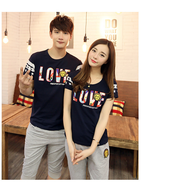 Lovers Clothes Men Women Fashion Couple T Shirt 2015 New lover letter Cartoon Casual Novelty Clothes For Lover Free Shipping0058(China (Mainland))