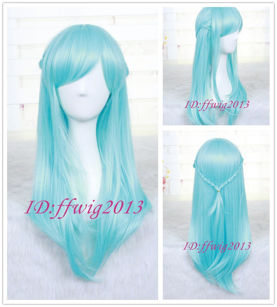 Sword Art Online Asuna ALO Long Straight Blue Anime Cosplay Hair Wig +a wig cap - min cheng store